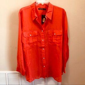 Ralph Lauren Silk Orange Button Down Shirt Sz. 2X